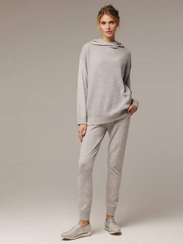 Женский серый джемпер с капюшоном из шерсти и кашемира - фото 6
