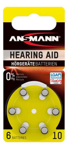 Батарейка для слуховых аппаратов AZA 10 ANSMANN - 6 шт
