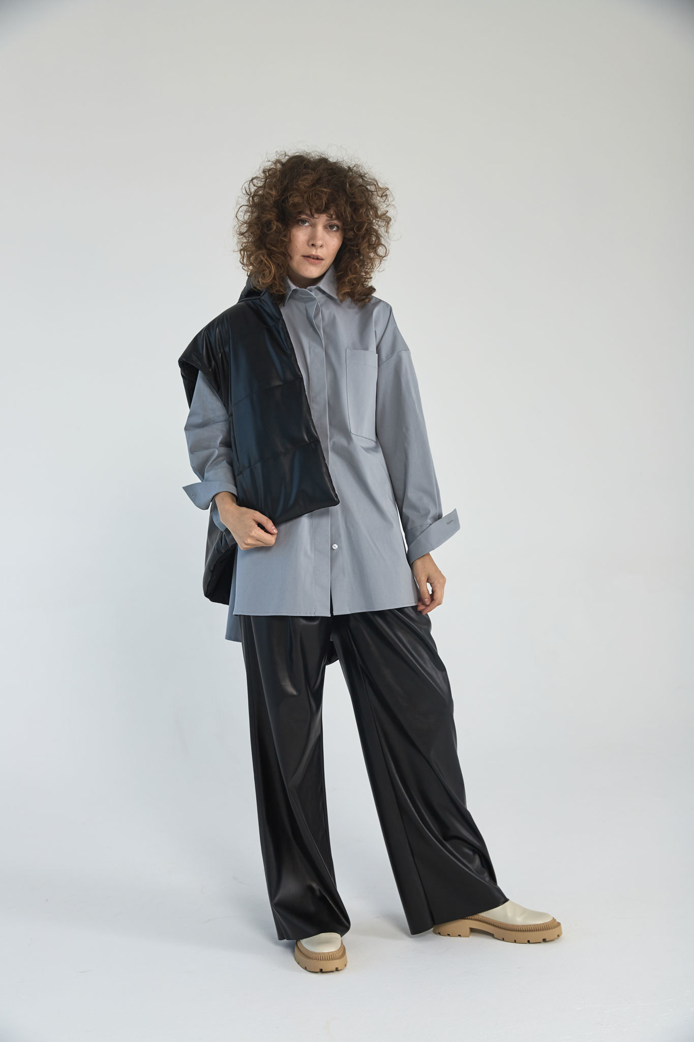 Рубашка оверсайз в мужском стиле, айсберг