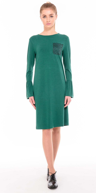 Платье З217-492 - Платье прямого силуэта из мягкого, комфортного, приятного телу поливискозного трикотажа. Отделка в виде кружевного кармашка и волана по низу рукава. Длина в районе колена. Подходит для всех типов фигуры.