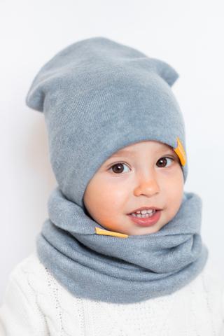Детский снуд-горловинка из турецкой шерсти серо-голубой