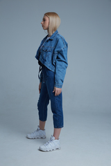 Джинсовая куртка укороченная синяя интернет магазин