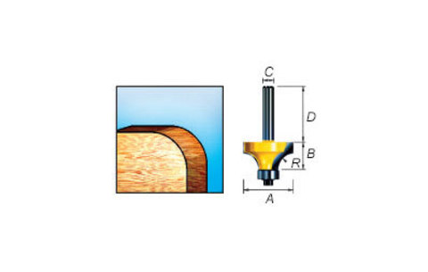 Фреза кромочная калевочная 19х9,5х32/8 мм, R=3 мм