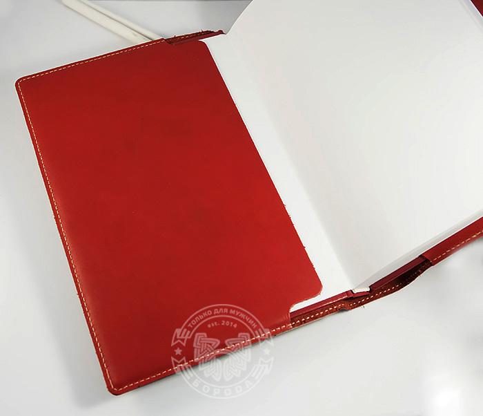 BY05-12-01 Кожаный подарочный ежедневник «Шеридан» красного цвета (формат А5) фото 05