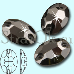 Узнайте где купить красивые стразы Oval Jet Hematite черные серебро