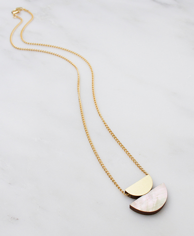 Подвеcка Double Crescent Necklace Mother of Pearl