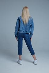 Джинсовая куртка укороченная синяя оптом