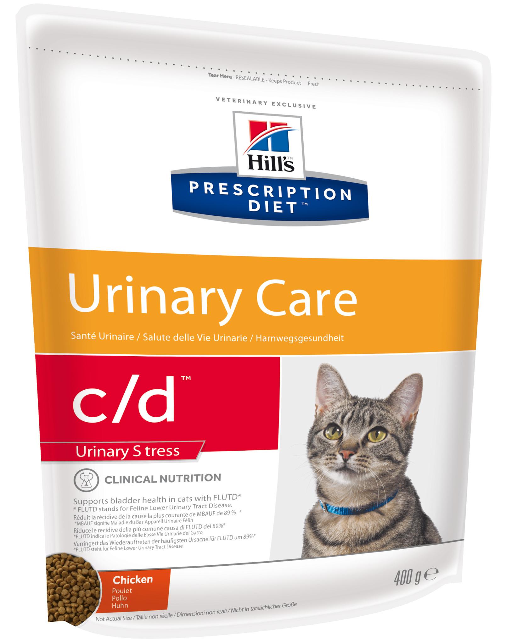 купить хиллс  диетический Hill's™ Prescription Diet™ c/d™ Feline Urinary Stress with Chicken сухой корм для взрослых кошек, диета при стрессах, цистите с курицей 400 гр