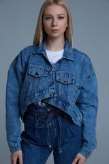 Джинсовая куртка укороченная синяя Nadya