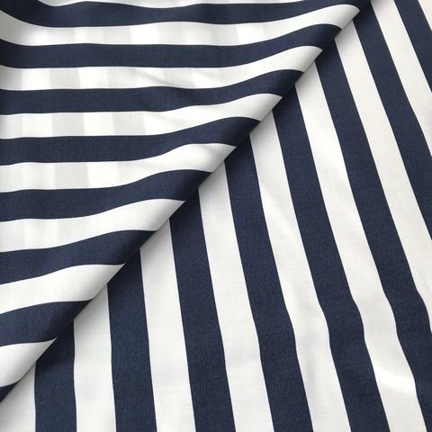 Ткань вискоза в широкую темно-синюю полоску 3254