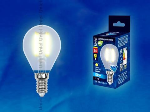 Uniel Лампа LED-G45-6W/WW/E14/FR Sky шарик (теплый свет)