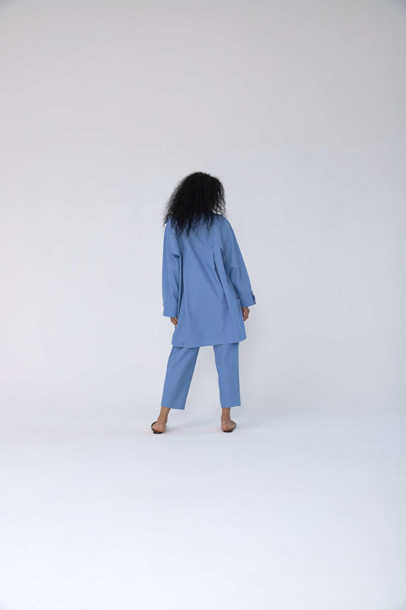 Куртка-рубашка на кнопках из денима, небесно-голубая