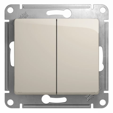 Выключатель двухклавишный, 10АХ. Цвет Молочный. Schneider Electric Glossa. GSL000951