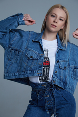 Джинсовая куртка укороченная синяя недорого
