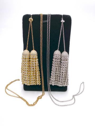 4759- Сотуар из серебра с двумя подвесками кисточками из цепочек с круглыми цирконами