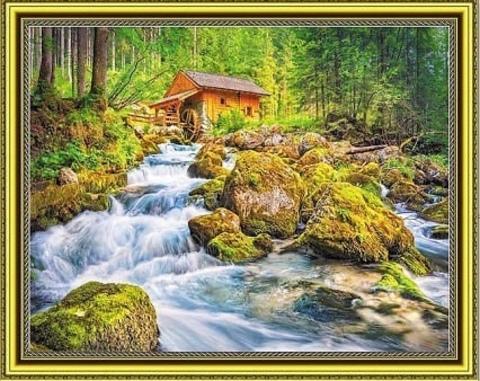 Алмазная Мозаика 40x50 Водяная мельница в лесу (арт. SGA2661 )
