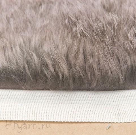 Меховая лента из кролика на прочной тесьме, серо-коричневая, ширина 2.5 см