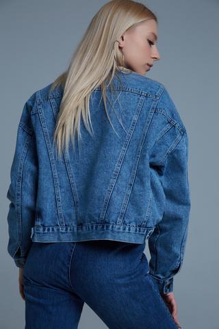 Джинсовая куртка укороченная синяя купить