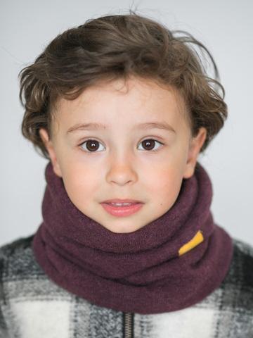 Детский снуд-горловинка из турецкой шерсти темно-лавандовый