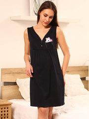 Мамаландия. Сорочка для беременных и кормящих с лифом на кнопках, единорог/темно-синий
