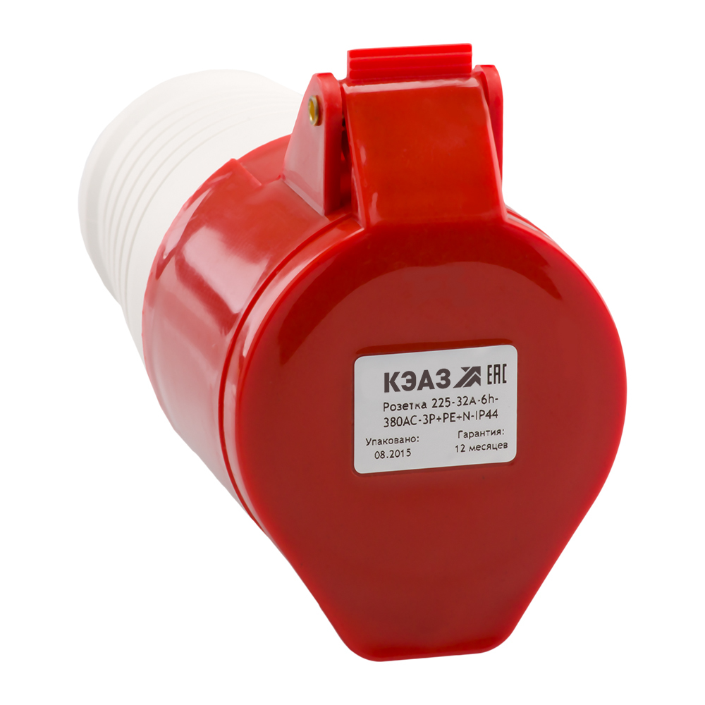 Розетка кабельная 225-32A-6h-380AC-3P+PE+N-IP44