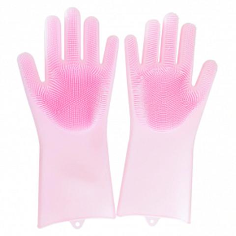 Термостойкие универсальные силиконовые перчатки с ворсинками для кухни розовые