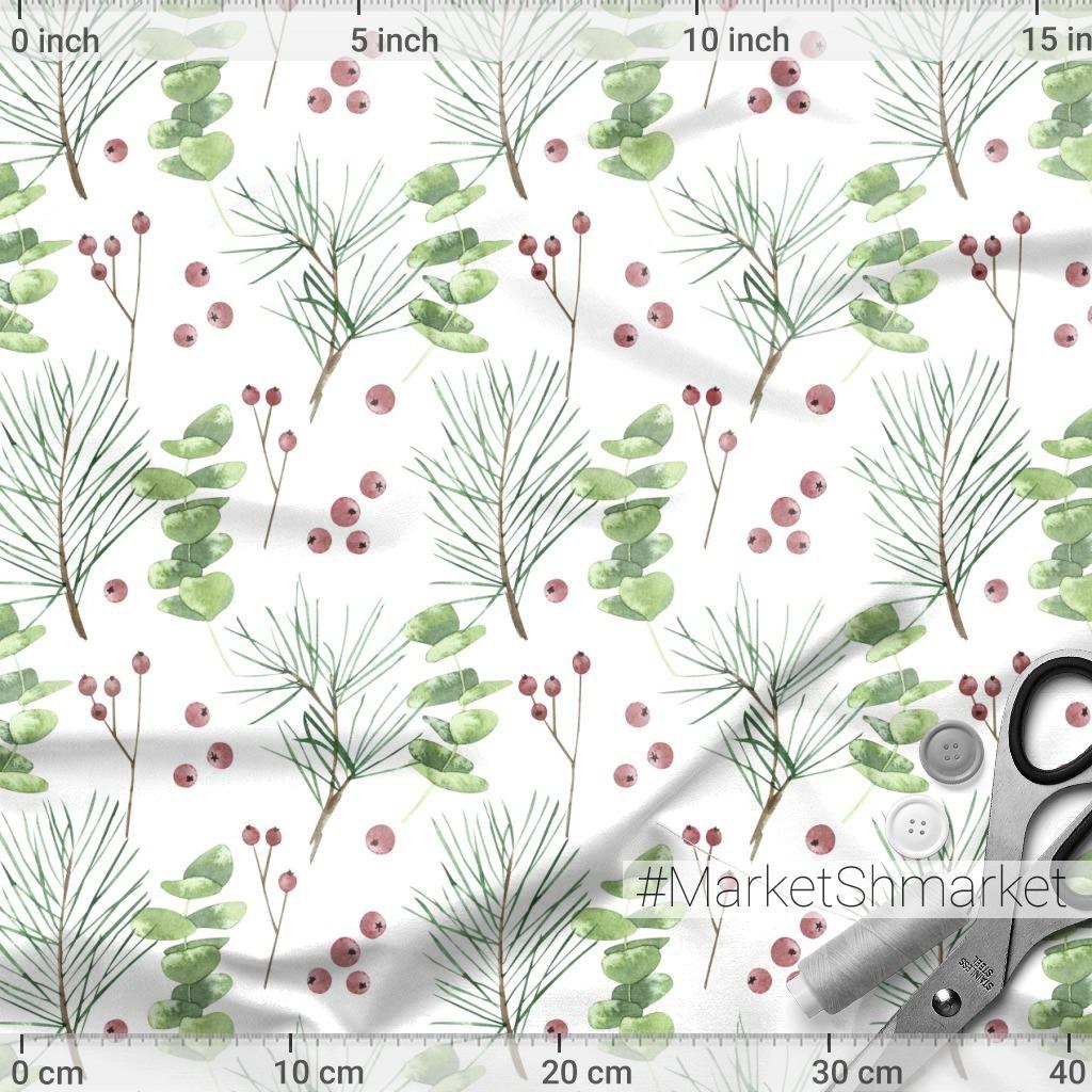 Зимний новогодний паттерн. Сосновые ветки, эвкалипт и ягоды.