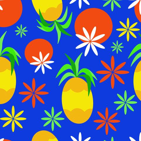 Тропические фрукты. Seamless Tropical Fruits Pattern