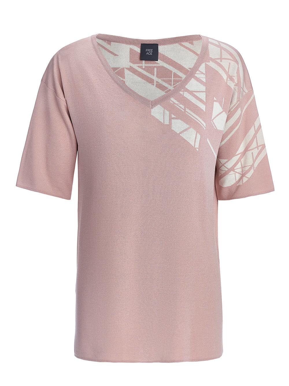 Женский джемпер светло-розового цвета с контрастным принтом из шелка и вискозы - фото 1