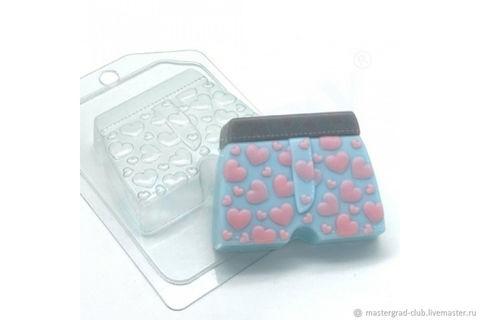 Труселя с сердечками, форма для мыла пластиковая