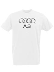 Футболка с принтом Ауди A3 (Audi A3) белая 0002