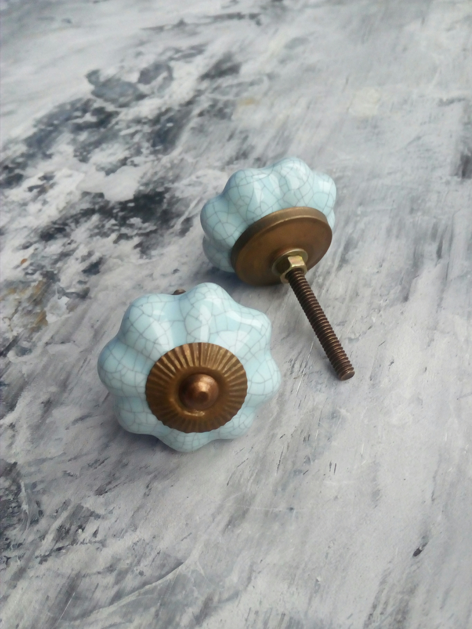 Ручка мебельная керамическая голубая с кракелюром, арт. 000323
