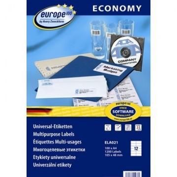 Этикетки самоклеящиеся Europe, ELA021, 105х48мм/12шт на листеА4 (100лист/уп