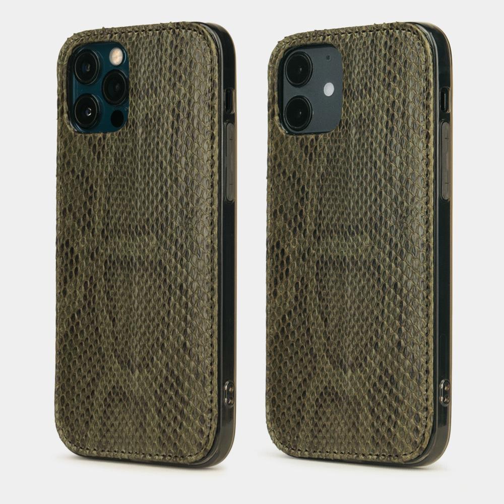 Чехол-накладка для iPhone 12/12Pro из натуральной кожи питона, зеленого цвета