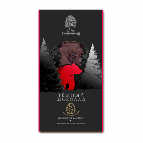 Шоколад с Сибирск клюквой и кедр орех 100гр Сибирский кедр