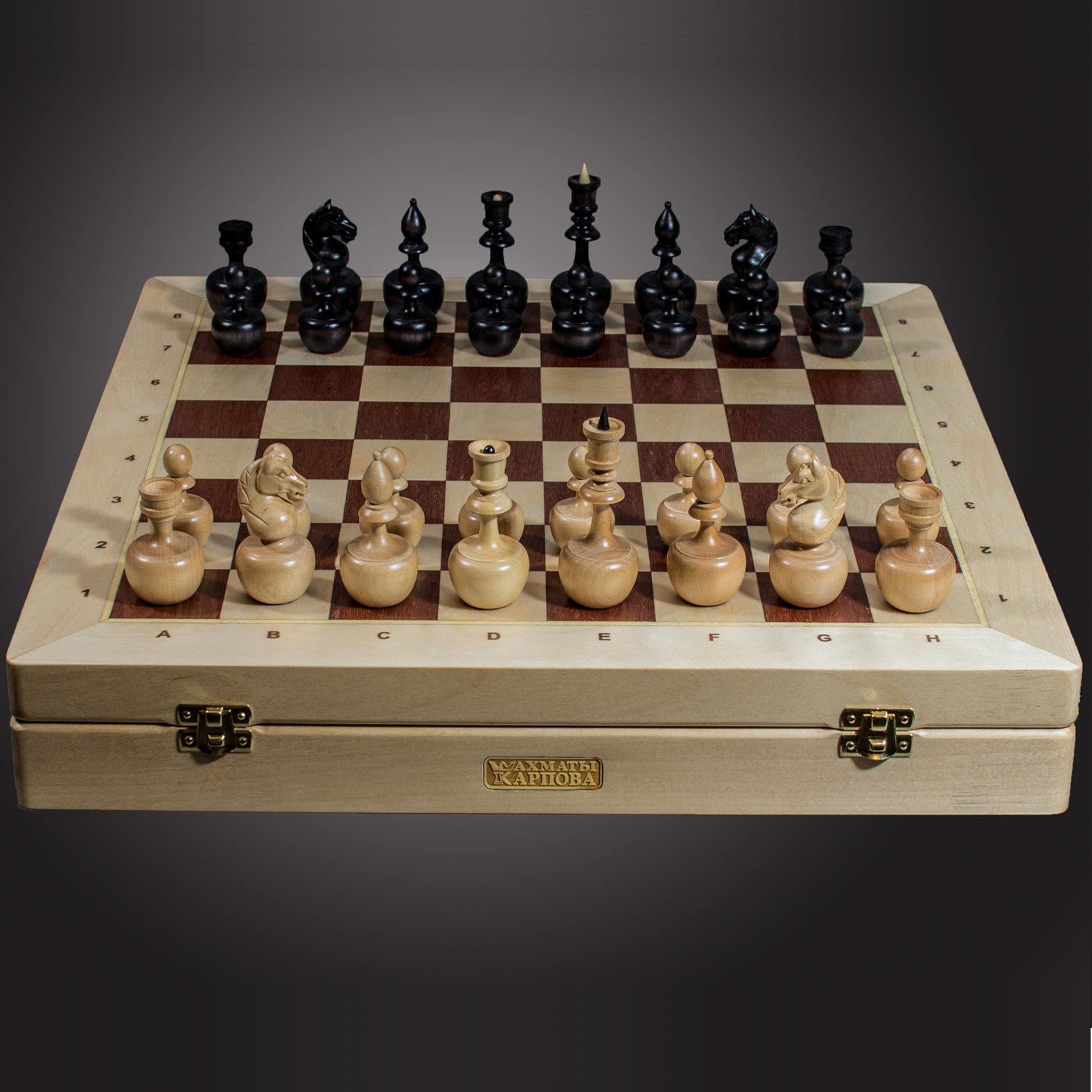 Шахматы Карпов-дизайн «Непобедимые» из березы