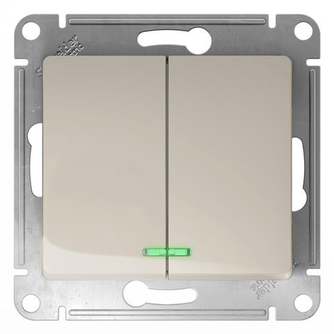 Выключатель двухклавишный с подсветкой, 10АХ. Цвет Молочный. Schneider Electric Glossa. GSL000953