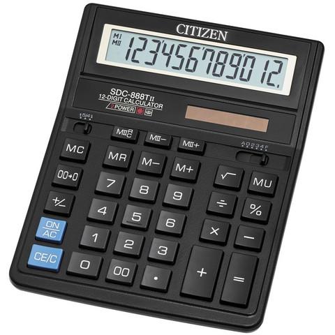 Калькулятор настольный ПОЛНОРАЗМЕРНЫЙ Citizen SDC-888TII 12-разрядный черный