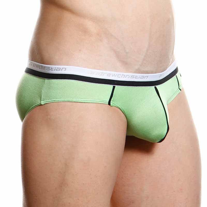 Мужские трусы брифы салатовые Andrew Christian V Slim Holiday Brief Light Green  AC3-M085