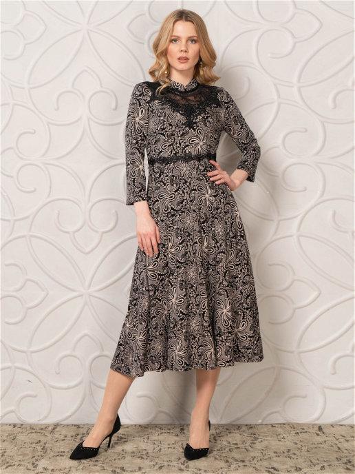 Платье pl-70802C/черный-коричневый