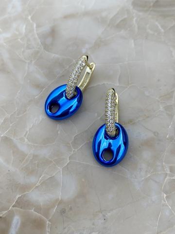 Серьги Баттон из позолоченного серебра, синие
