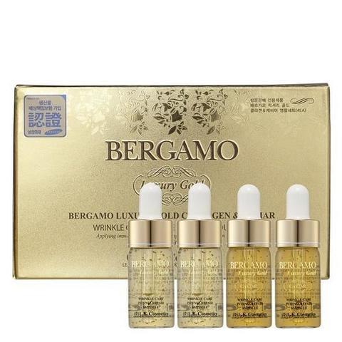 Bergamo Luxury Gold Collagen & Caviar Wrinkle Care Intense Repair Ampoule Set ампульная сыворотка с золотом и экстрактом икры для интенсивного восстановления кожи