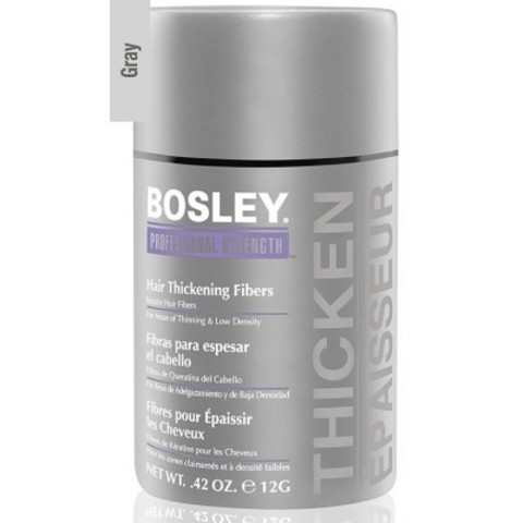 Bosley PRO Кератиновые волокна: Кератиновые волокна - седой (Hair Thickening Fibers - Gray), 12г