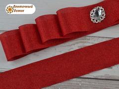 Лента текстильная с люрексом красная 38 мм