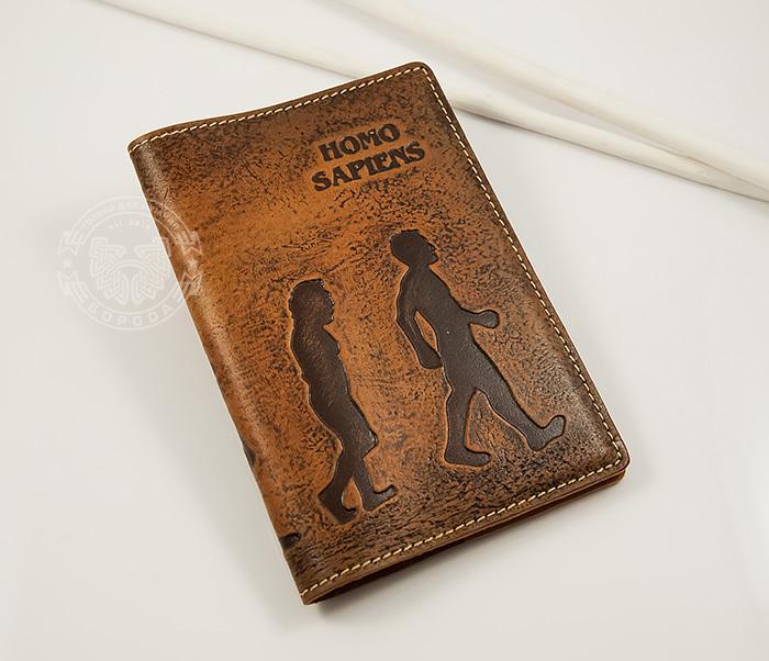 BY14-26-02 Обложка для паспорта «Homo Sapiens» из натуральной кожи фото 03