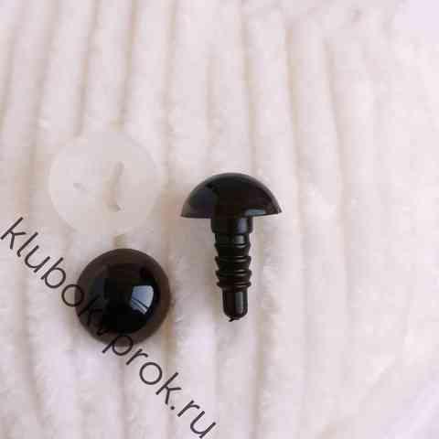 Глаза пластиковые с фиксатором 12 мм, 1 пара, коричневые