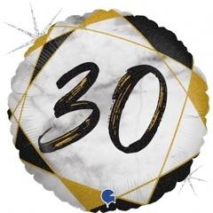 Г Круг 30 Цифра, Мрамор Черный, Голография, 18