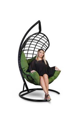 Подвесное кресло-кокон БАРСЕЛОНА ПЛЮС черное + каркас + зеленая подушка
