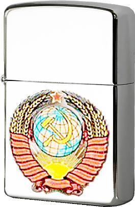 Зажигалка Zippo Герб СССР с покрытием High Polish Chrome, латунь/сталь, серебристая, глянцевая