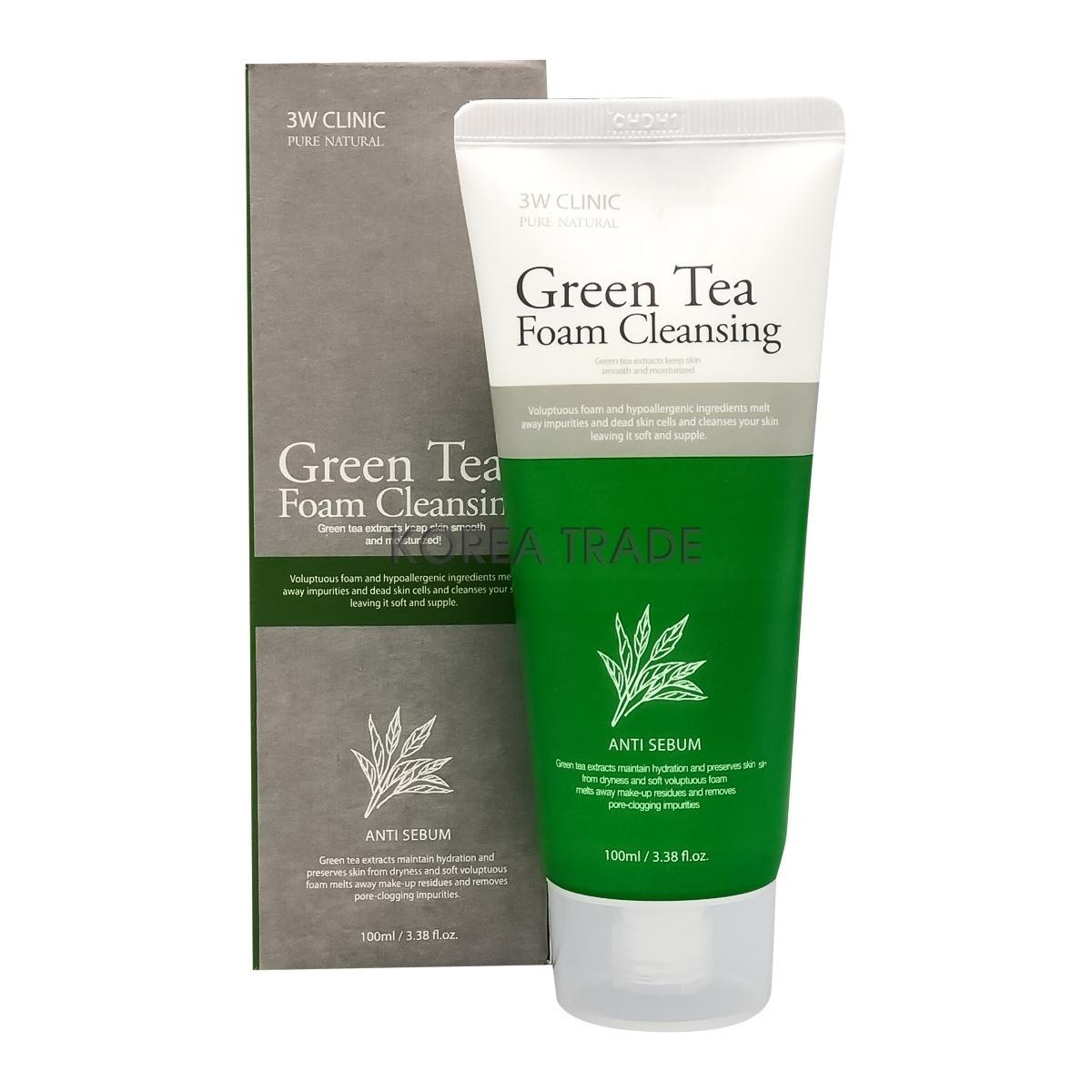 Пенки для умывания Пенка для умывания ЗЕЛЕНЫЙ ЧАЙ 3W CLINIC Green Tea Foam Cleansing 100 мл 6020316753.jpg